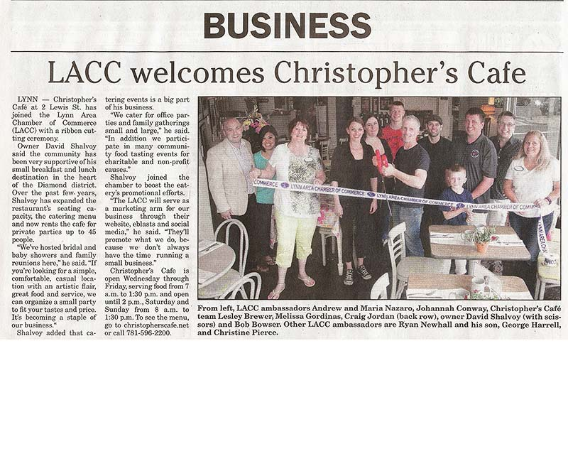 LACC Welcomes Christophers Cafe